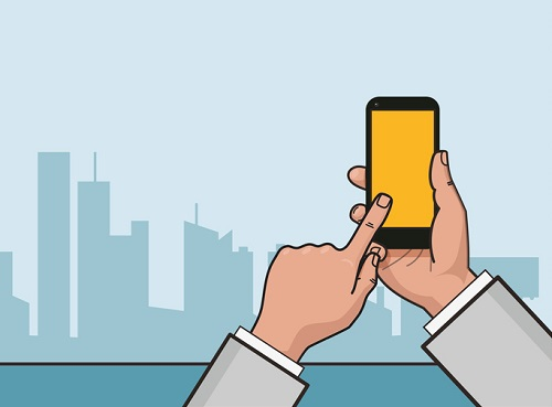 Vector flat linear illustration. Hand with smartphone and city landscape in the background.
